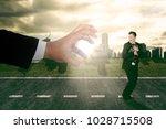 businessman running scare being ... | Shutterstock . vector #1028715508