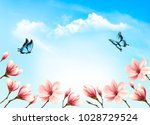 nature spring background with... | Shutterstock .eps vector #1028729524