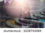 double exposure businessman and ... | Shutterstock . vector #1028743084