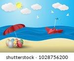 happy easter template  multi... | Shutterstock .eps vector #1028756200