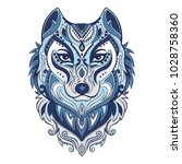 vector tribal style wolf totem... | Shutterstock .eps vector #1028758360