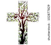 Floral Christian Cross  Tree...