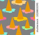 ice cream dropped pattern. milk ... | Shutterstock .eps vector #1028803390