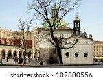 Main Market Place in Krakow with Cloth hall and St.Adalbert church