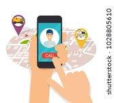 hand holding mobile smart phone ... | Shutterstock .eps vector #1028805610