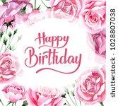 wildflower pink tea rosa flower ... | Shutterstock . vector #1028807038