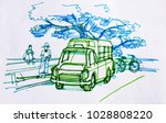 traveler sketch drawing and... | Shutterstock . vector #1028808220