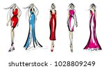 stylish fashion models. pretty... | Shutterstock .eps vector #1028809249