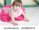 elegant little girl in a bright ... | Shutterstock . vector #102882473