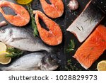 Raw Salmon Fish Fillet And...