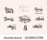 hello spring set. hello spring... | Shutterstock .eps vector #1028831398