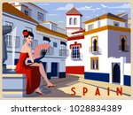 summer day in small town ... | Shutterstock .eps vector #1028834389