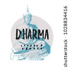 dharma abstract quote lettering.... | Shutterstock .eps vector #1028834416