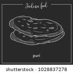 delicious soft hot puri loaves... | Shutterstock .eps vector #1028837278