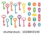 vintage colorful keys and... | Shutterstock .eps vector #1028843140