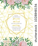 floral wedding invitation with...   Shutterstock .eps vector #1028848156