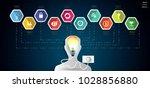 human head and  light bulbs     ... | Shutterstock .eps vector #1028856880