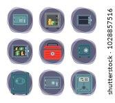 money safe steel vault door...   Shutterstock .eps vector #1028857516