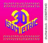 isometric alphabet font. 3d...   Shutterstock .eps vector #1028859640