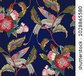 dark enchanted vintage flowers...   Shutterstock .eps vector #1028865580
