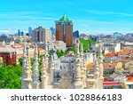 panoramic view from above on... | Shutterstock . vector #1028866183