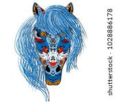 stylized hand drawn head horse... | Shutterstock . vector #1028886178