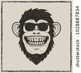 funny monkey in sunglasses... | Shutterstock .eps vector #1028887834