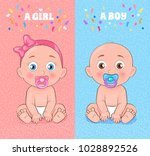 baby boy and baby girl set ... | Shutterstock .eps vector #1028892526