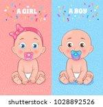 baby boy and baby girl set ... | Shutterstock .eps vector #1028892526