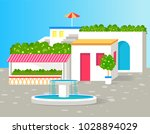 small villa with lot of green... | Shutterstock .eps vector #1028894029