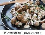 closeup of fried champignons... | Shutterstock . vector #1028897854