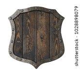 wooden medieval heraldic shield ... | Shutterstock . vector #1028898079