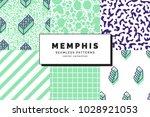 set of memphis seamless... | Shutterstock .eps vector #1028921053