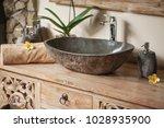 beautiful bathroom with... | Shutterstock . vector #1028935900