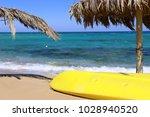 palm leaf sunshade umbrella... | Shutterstock . vector #1028940520