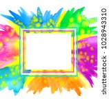 happy holi banner. border frame ... | Shutterstock .eps vector #1028943310