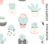 cute summer theme cactus... | Shutterstock .eps vector #1028951950