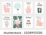 cute pink lamas hand drawn... | Shutterstock .eps vector #1028953330