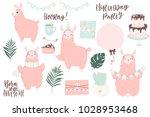 cute pink lamas hand drawn... | Shutterstock .eps vector #1028953468