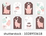 set of 8 cute ready to use gift ... | Shutterstock .eps vector #1028953618