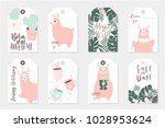 set of 8 cute ready to use gift ... | Shutterstock .eps vector #1028953624