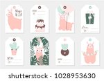 set of 8 cute ready to use gift ... | Shutterstock .eps vector #1028953630