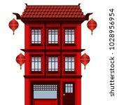 facade of asian house  | Shutterstock .eps vector #1028956954