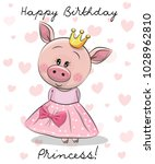 happy birthday card with cute... | Shutterstock .eps vector #1028962810