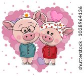 two cute cartoon pigs on a... | Shutterstock .eps vector #1028964136