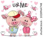 two cute cartoon pigs on a... | Shutterstock .eps vector #1028964748