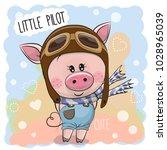 cute cartoon pig in a pilot hat | Shutterstock .eps vector #1028965039