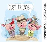 Stock vector three friends cute cartoon pigs and a bird 1028966386