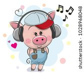 cute cartoon pig in a cap with... | Shutterstock .eps vector #1028968048