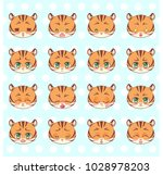 Stock vector emoticons emoji smiley set colorful sweet kitty little cute kawaii anime cartoon tiger different 1028978203